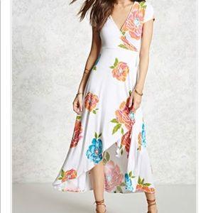 Long Floral Wrap Dress